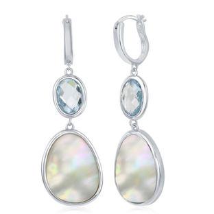 Blue Topaz Mother of Pearl Earrings