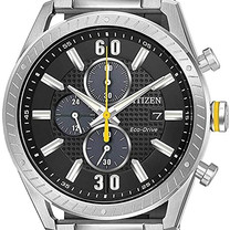 Stainless Steel Yellow Accent Eco-Drive Watch