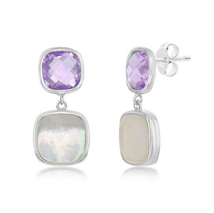 Amythest Mother of Pearl Earrings