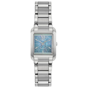 Ladies Silver Tone Blue Mother of Pearl Eco Drive Watch