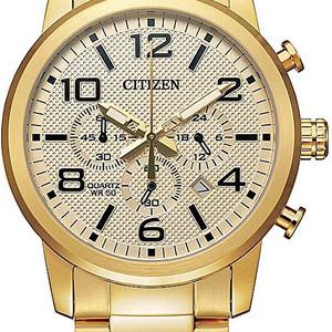 Gold-Tone Stainless Steel Chronograph Quartz Watch