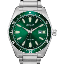 Silver Tone Stainless Steel Eco-Drive Watch
