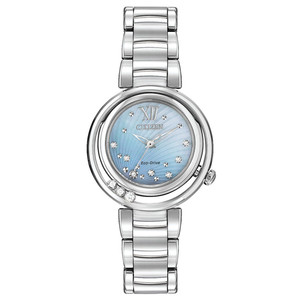 Ladies Silver Tone Eco Drive watch with Swarvoski Crystals and Blue Mother of Pearl Dial