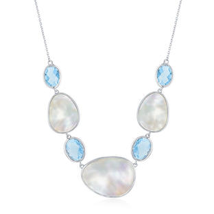 Blue Topaz Mother of Pearl Necklace