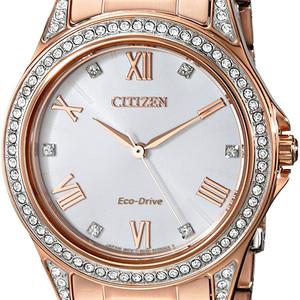 Ladies Rose Tone Eco Drive Watch with Swarvoski Crystals