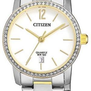 Ladies Two Tone Swarvoski Crystal Quartz Watch