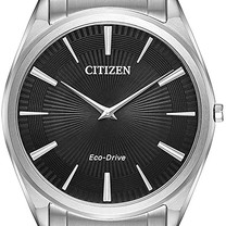 Stainless Steel Black Dial Eco-Drive Watch