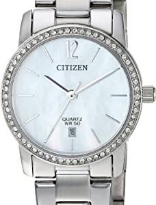Ladies Silver Tone Swavroski Crystal Dial Quartz Watch