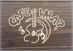 Table top logo for Cafe Wha?