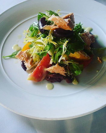 Trout salad  with heirloom tomatoes  and
