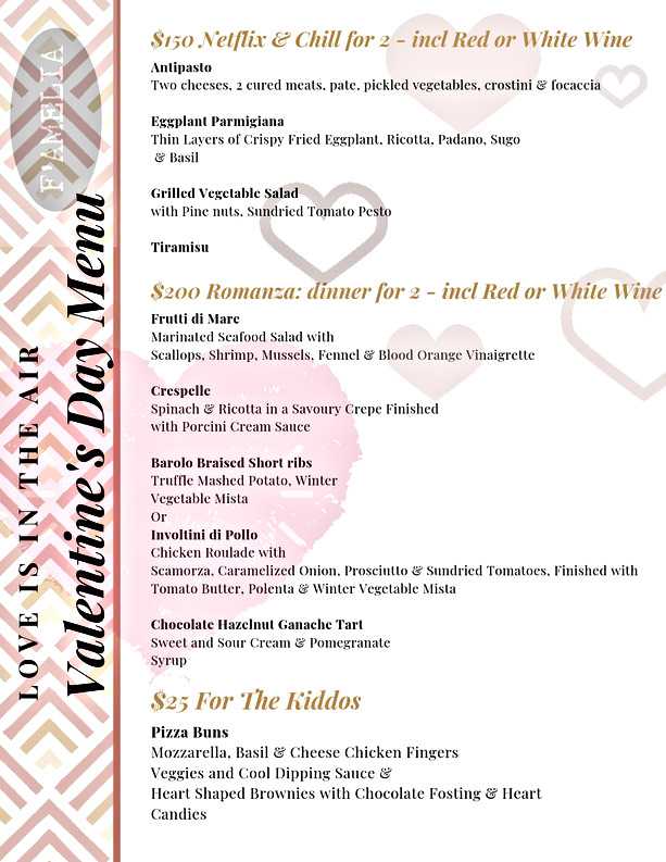 Valentine's Day Menu Options