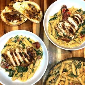 CRIMSON & CREAMY Cajun Chicken and Sausage Pasta