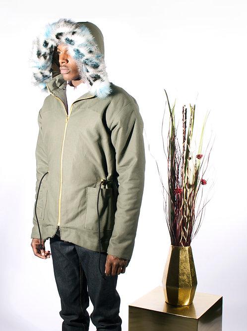 Canvas Parka Coat w/ Detchable Fur Hood
