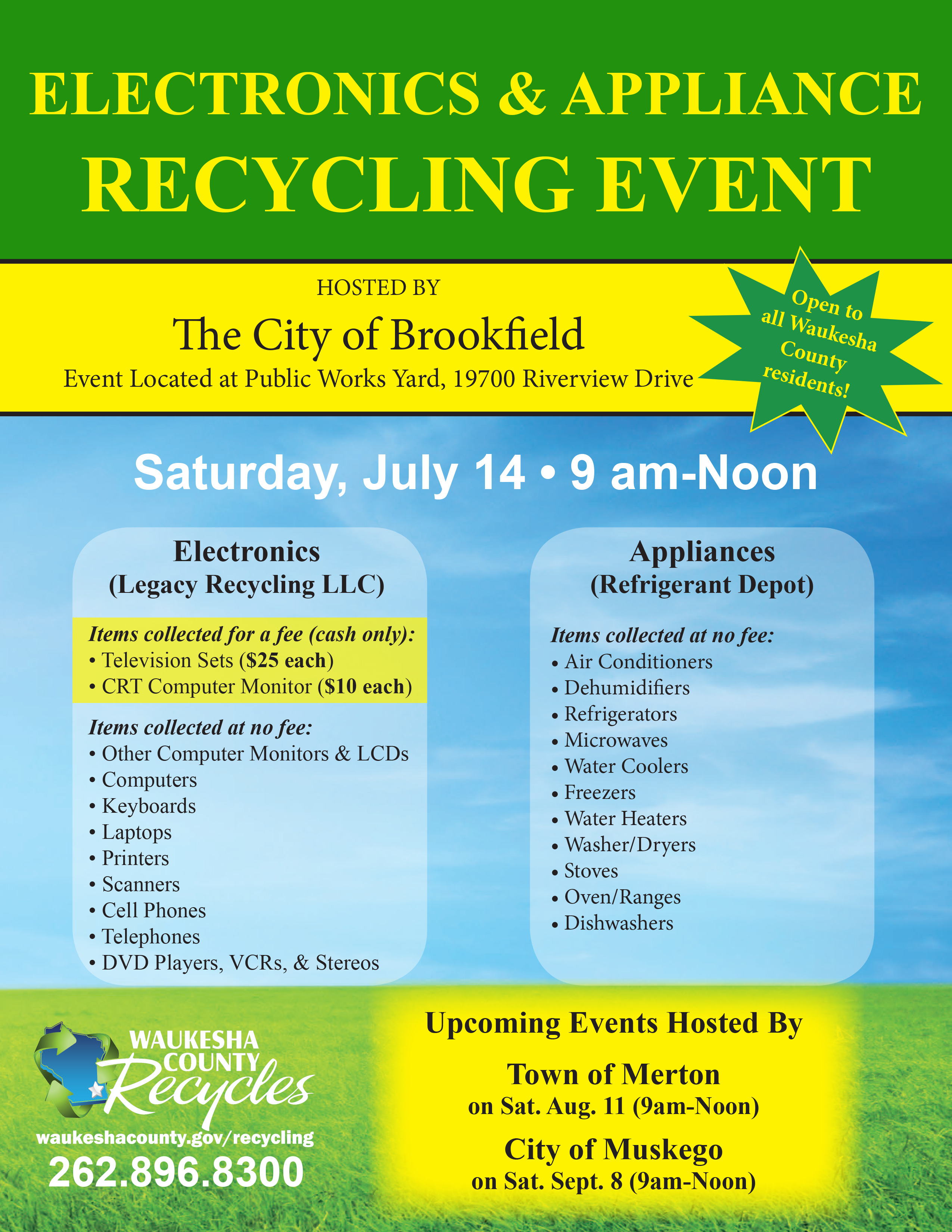 Waukesha County Special One-Day Electronics And Appliance Recycling