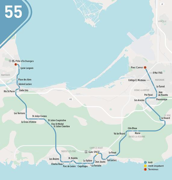 Plan de la ligne 55 à compter du 26 juillet 2021
