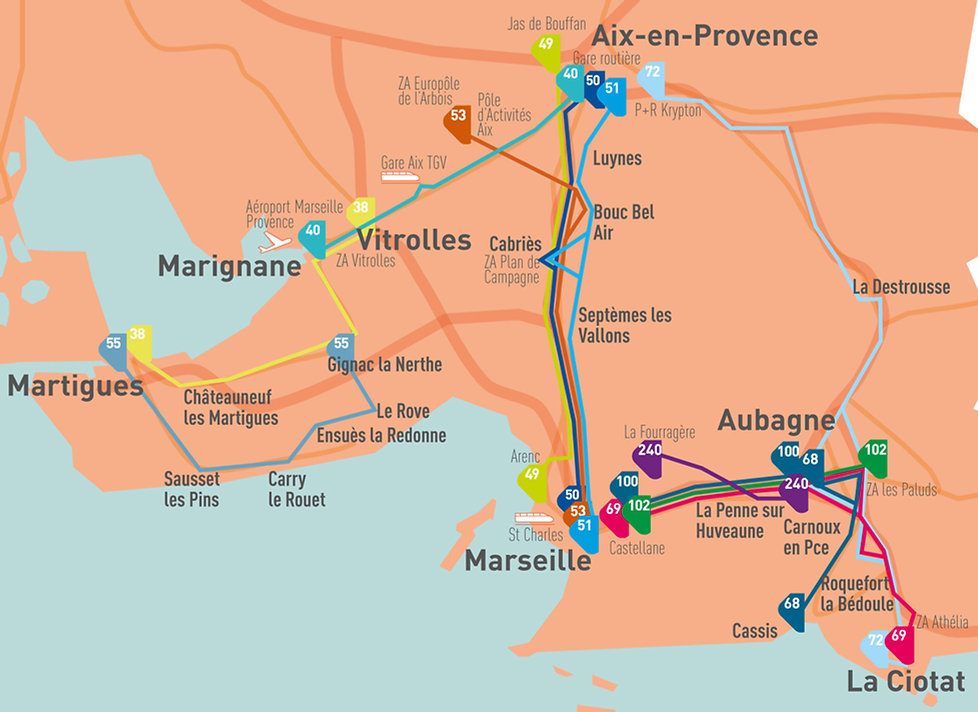 carte des lignes lecar exploitées par la RDT13