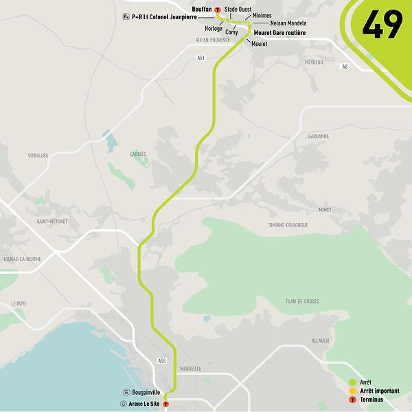 Plan de la ligne 49 lecar - Septembre 2021
