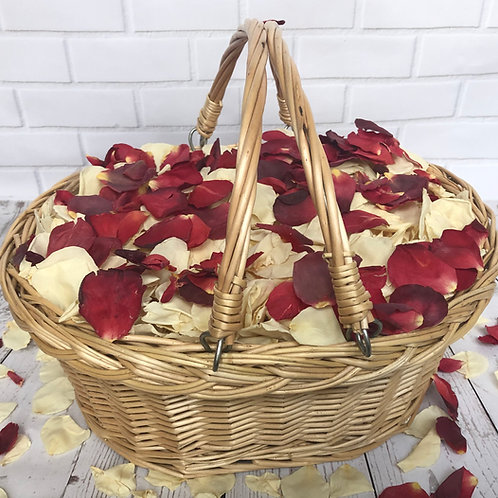 Confetti Basket filled with Bridal Bliss and Falling in Love freeze-dried rose petals