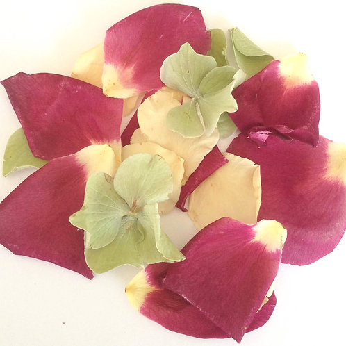 Mulberry Mix, a mixture of freeze-dried rose petals and hydrangea petals
