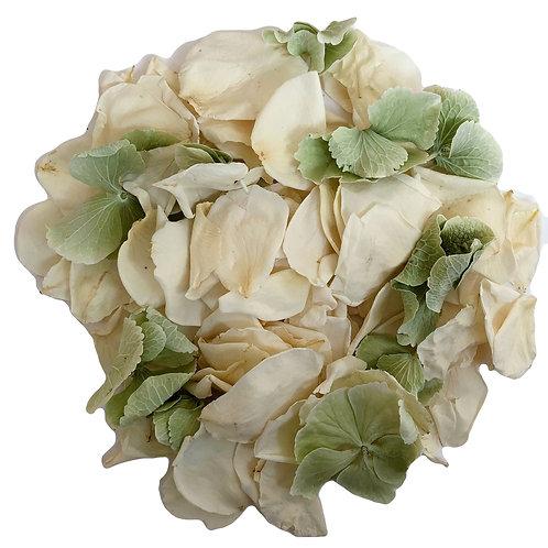 Peppermint, a mixture of freeze-dried rose petals and hydrangea petals