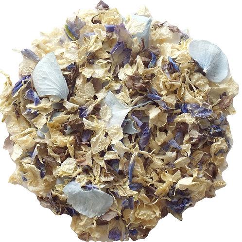 Blue Mix Delphinium Petals mixed with Blue Hydrangea Petals