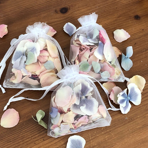 Organza Bag complete with pastel rose petal and hydrangea petals