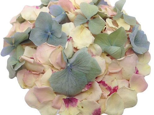 Twister, a mixture of freeze-dried rose petals and hydrangea petals