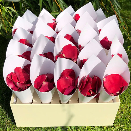Keepsake box holding confetti cones filled with Ruby freeze-dried rose petals