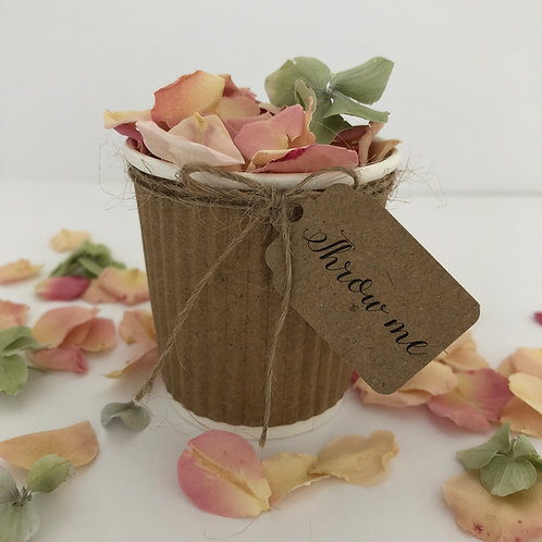 Confetti Cups complete with petals and 'Throw Me' tag