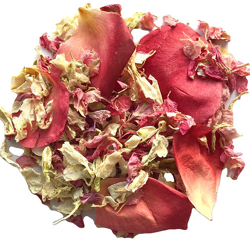 Raspberry Blondie mix of rose petals and delphinium petals