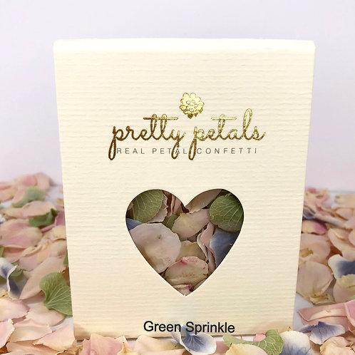Confetti Box containing green sprinkle confetti petals