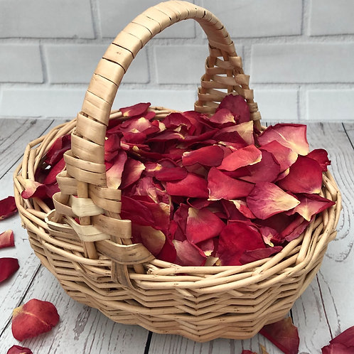 Flower Girl Basket filled with Falling in Love freeze-dried rose petals