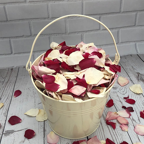 Cream Pail filled with Strawberry Shortcake Rosepetal Mix