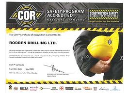 COR Safety Program Accredited | Rodren Drilling Ltd. | Manitoba