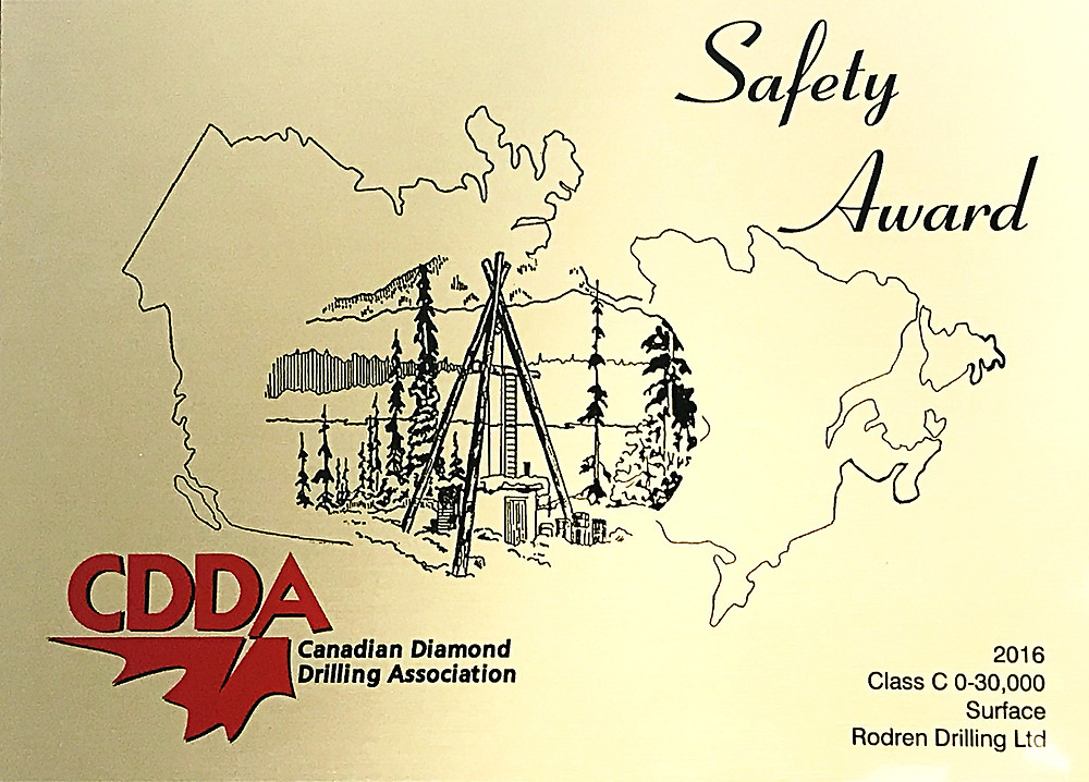 Canadian Diamond Drilling Safety Award | Rodren Drilling