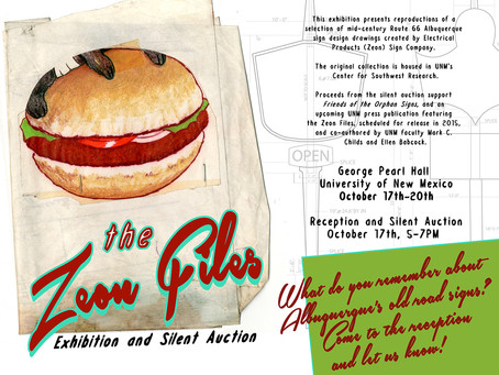 Zeon Files Exhibition and Silent Auction, Oct 17th, 5-7 George Pearl Hall, UNM