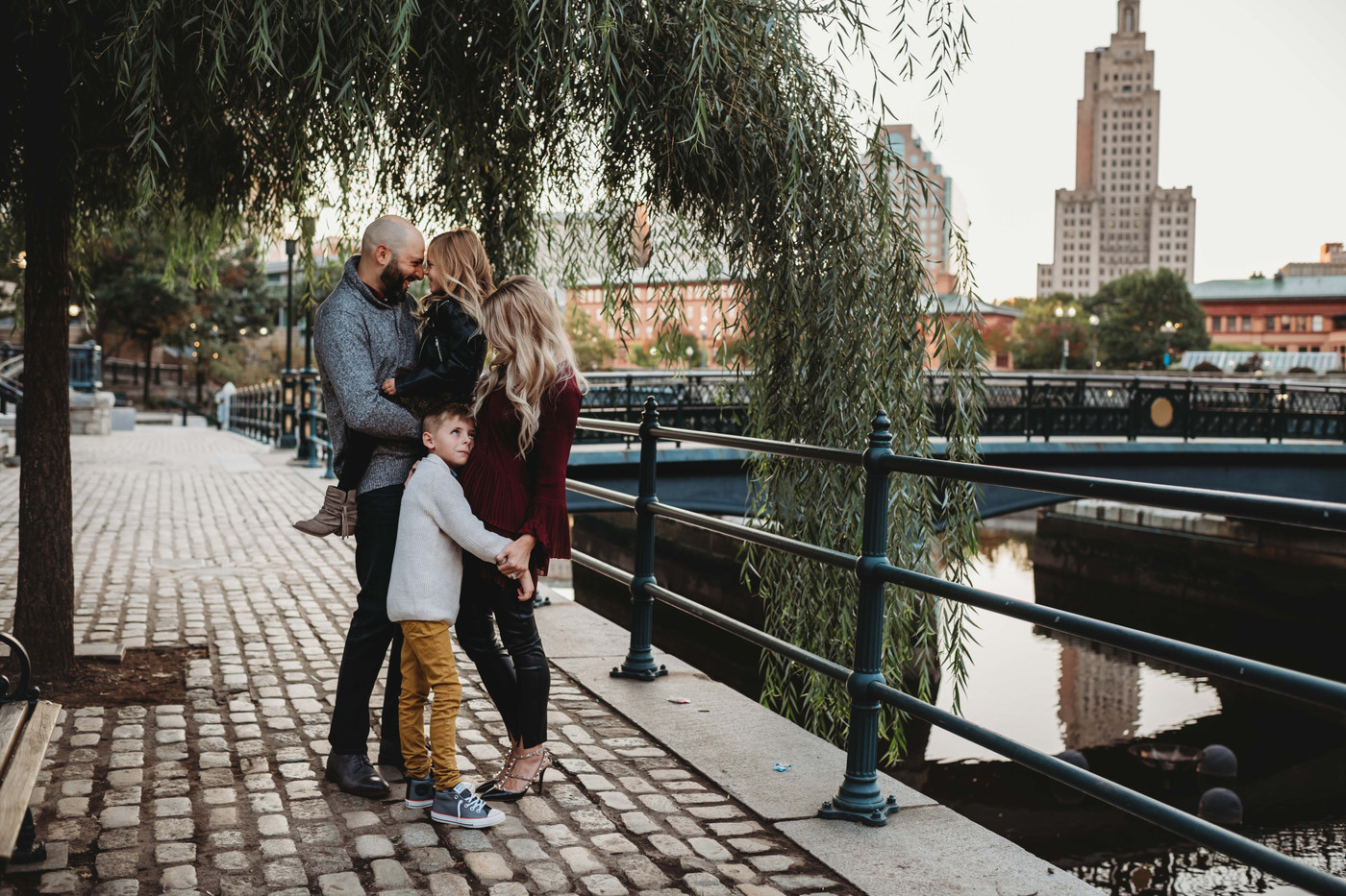 Urban Family Sessions at the Riverwalk in Providence, Rhode Island