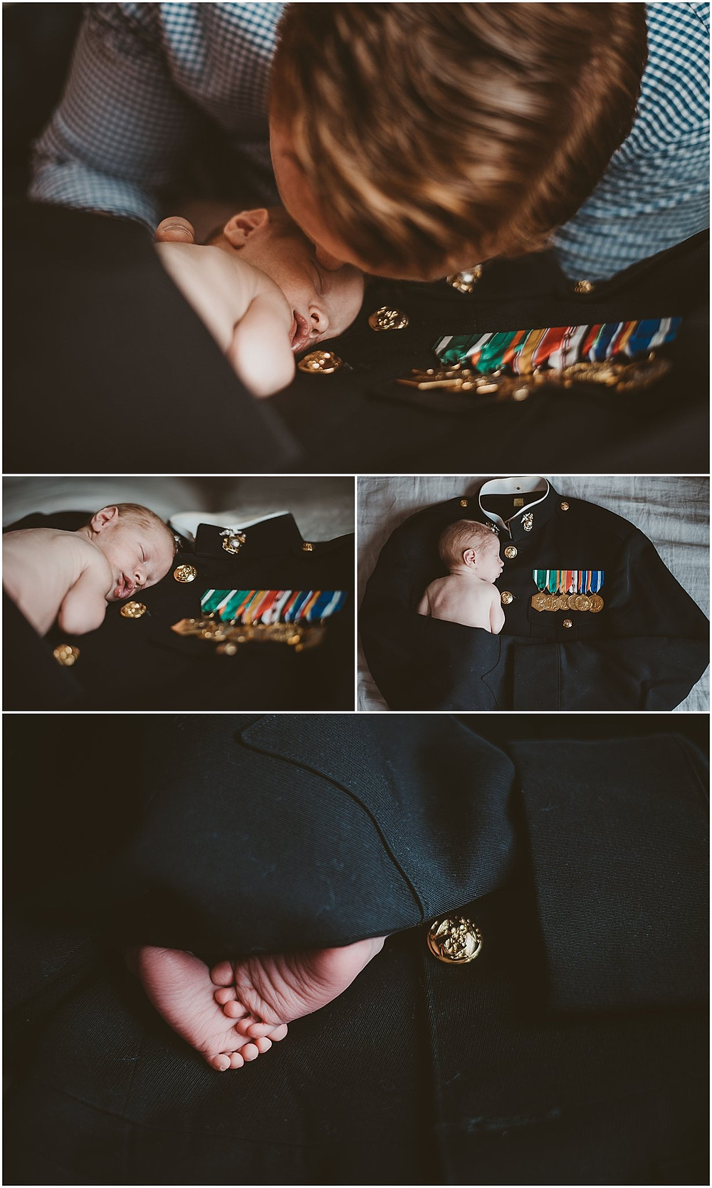 Newborn baby lying on father's marine corp uniform
