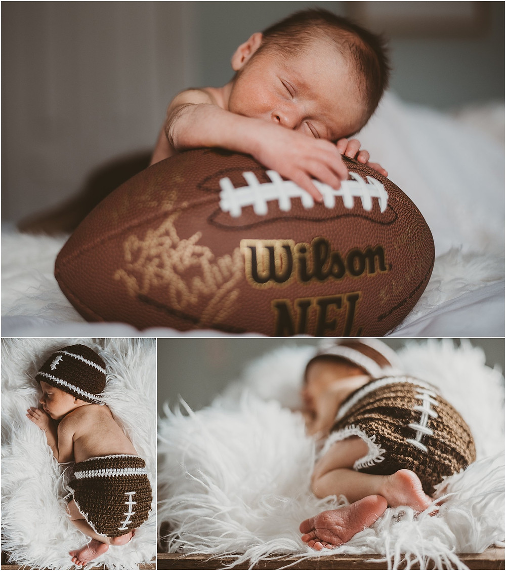 Newborn baby boy posed with football theme | Newborn Photographer in New London County, Connecticut