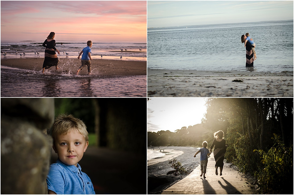 Mother and son playing on the beach during sunset photo session