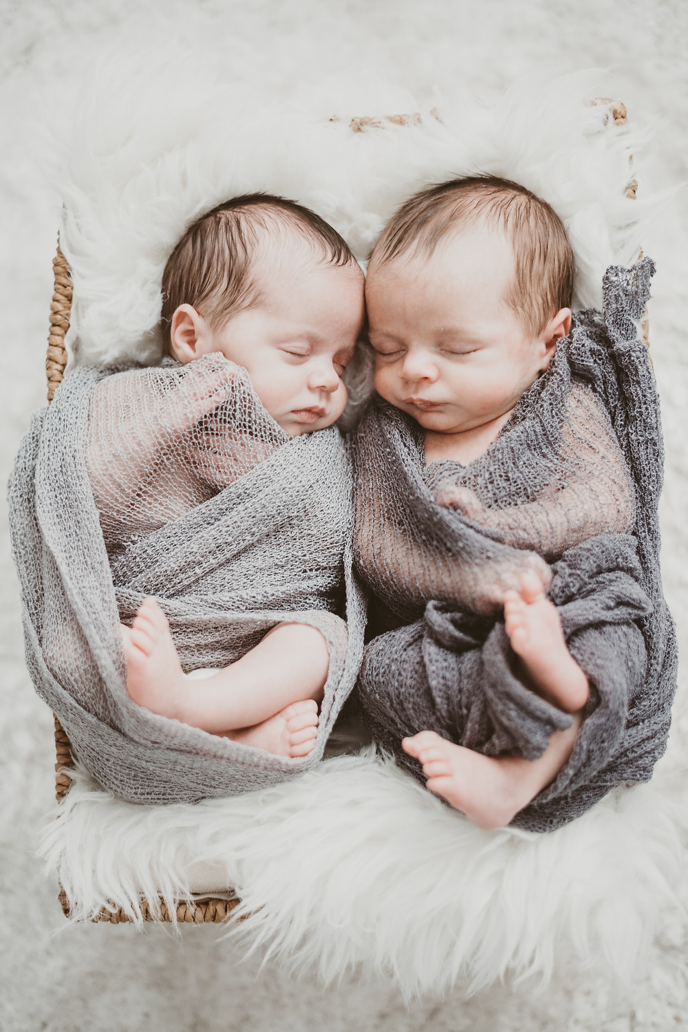 newborn baby twins sleeping soundly together in a basket