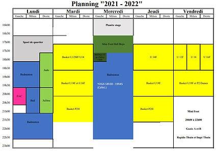 horaires salle thuin soirée 2021 2022