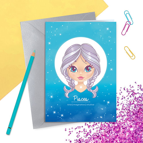 Pisces Zodiac Greetings Card