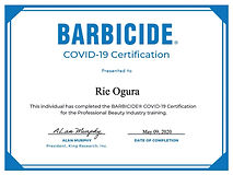 BARBICIDE COVID-19 Certificate for Rie O