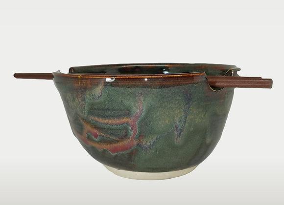 Handmade Pottery Rice bowl w/ chopsticks