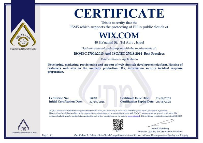 ISO 27018 認定書
