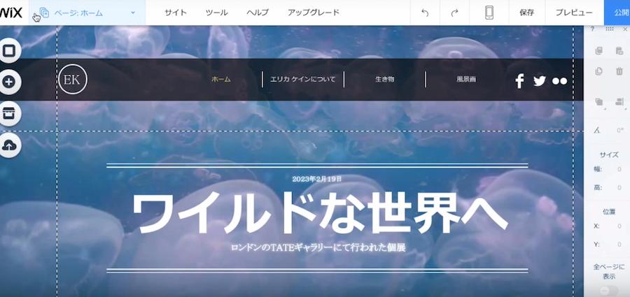 ホームページの背景に設定したクラゲの動画