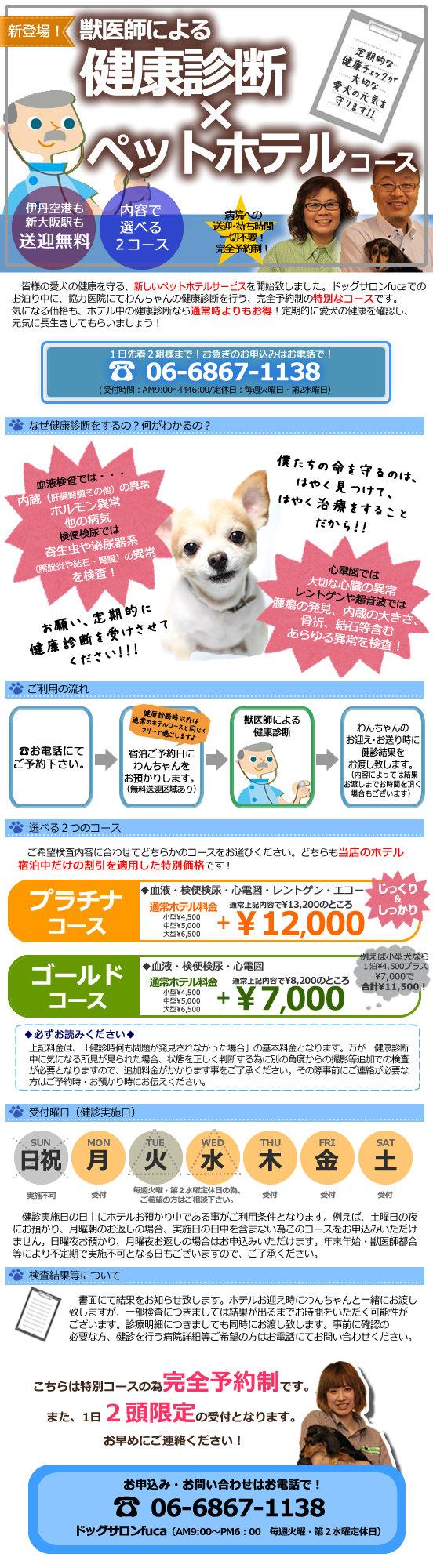 大阪豊中 ドッグサロンfuca 健康診断付きペットホテルコース