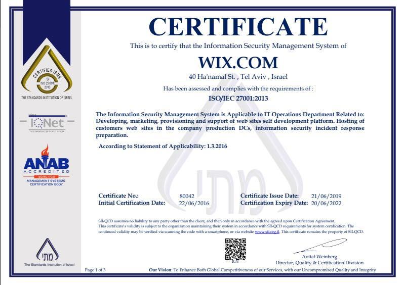 ISO 27001 認定書