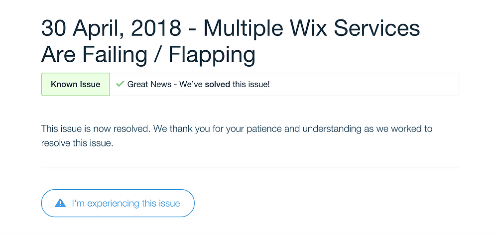 I'm experiencing this issue. 2018年4月30日Wixサイト502エラー